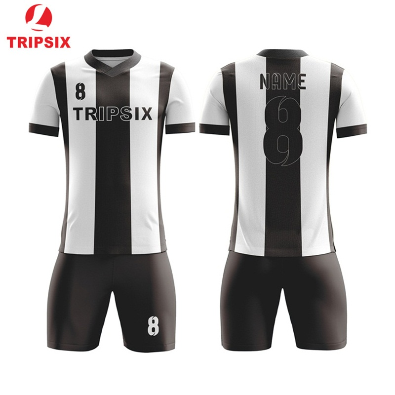 Custom Latest Design Double Sided Black And White Football Jersey