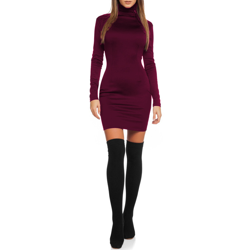 Women Clothes 2018 Autumn Long Sleeve Bodycon Casual Dress Fall Winter Slimming Solid Color Elegant Temperament Quality Dresses 4