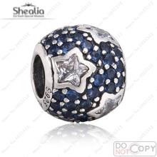 Midnight Blue Crystal Star Charm cabida los granos europeos pulseras de marca auténtica plata de ley 925 pavimenta Clear CZ joyas encanto de la estrella