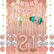 METABLE 1SET Champagne Balloon, Pink Happy Birthday Banner, 21 Balloons,Rose Gold Foil Fringe Curtains,Confetti Balloons