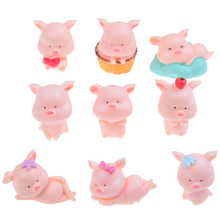 cute 3x3cm Pig Figurine Model Modern Style Cute Animal Miniature Figurines Gift Garden Home Room Decoration Collection