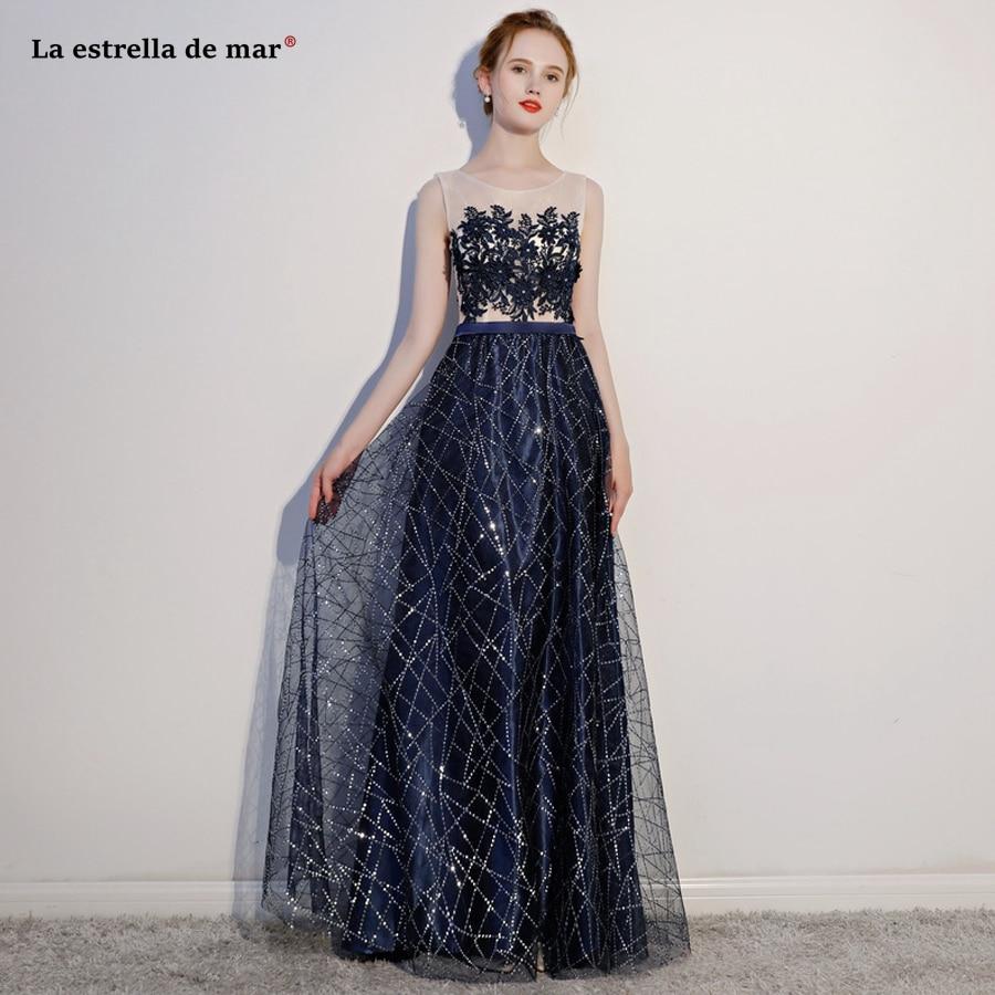 Gaun Pesta Dewasa2018 New Lace Sequins See A Line Navy Blue Red