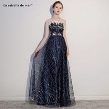 Gaun pesta dewasa2018 new lace sequins see a line navy blue red bridesmaids  dresses long sexy 7f717da2a958