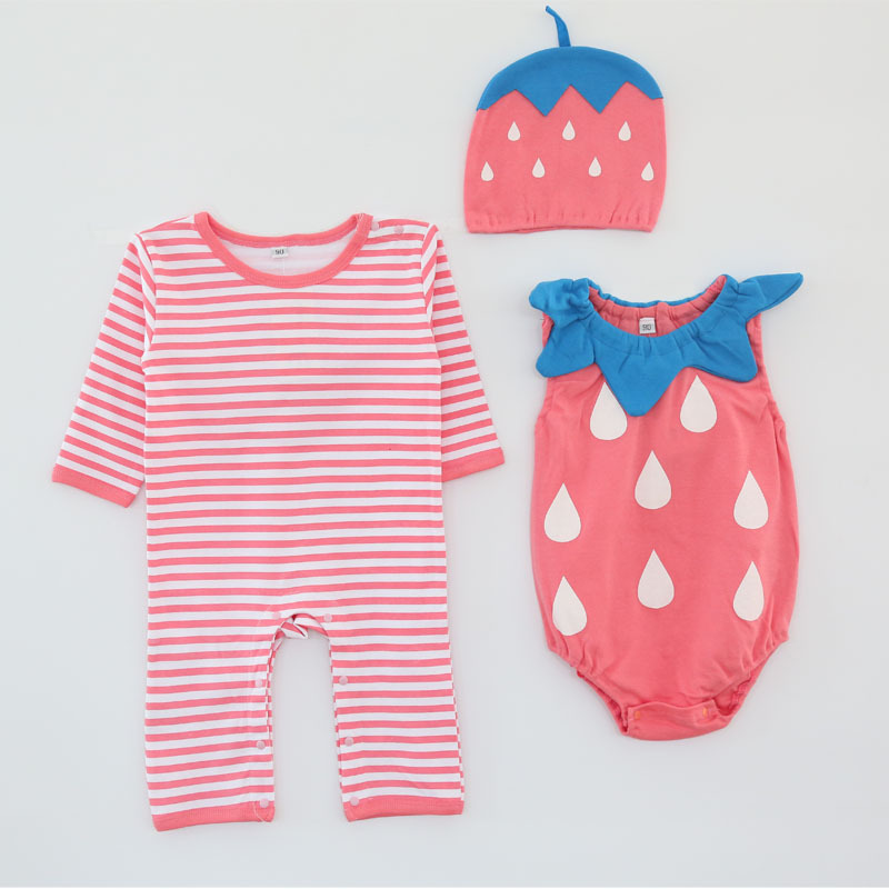 Image 2 - Baby girl cotton outfit strawberry costume full sleeve romper+hat+vest infant halloween festival photography clothingRompers   -
