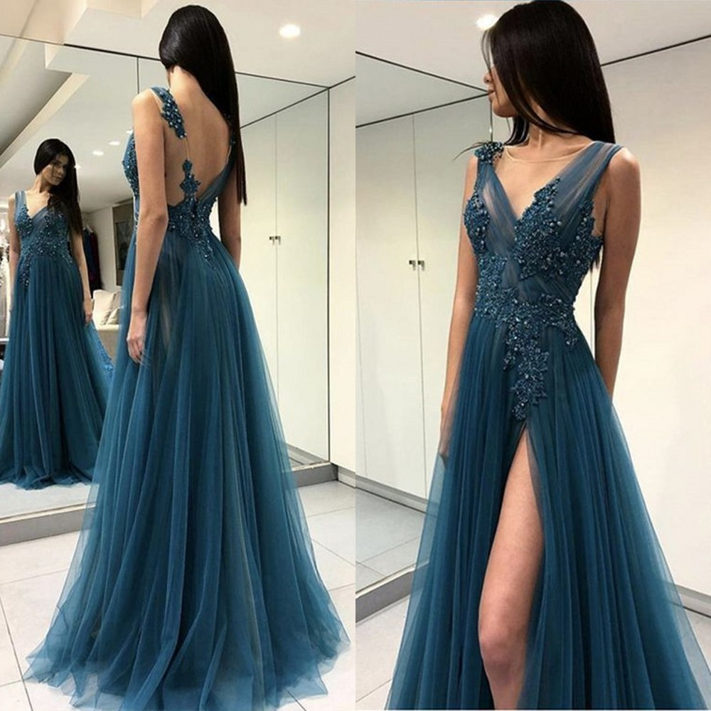 Custom Made Tulle Dress Evening High Split A Line Floor Length Beaded Lace Long Party Dresses 2018 New Women Prom Gowns Cheap