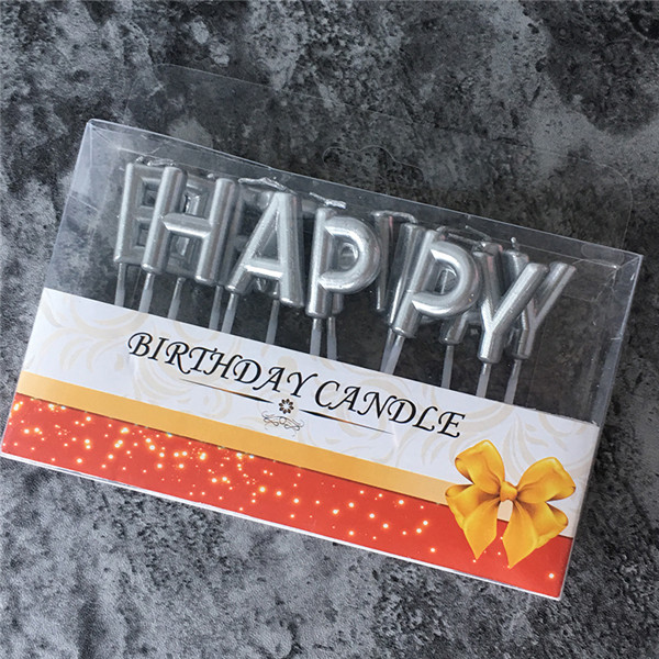 Dropwow Gold Sliver Happy Birthday Letter Cake Party