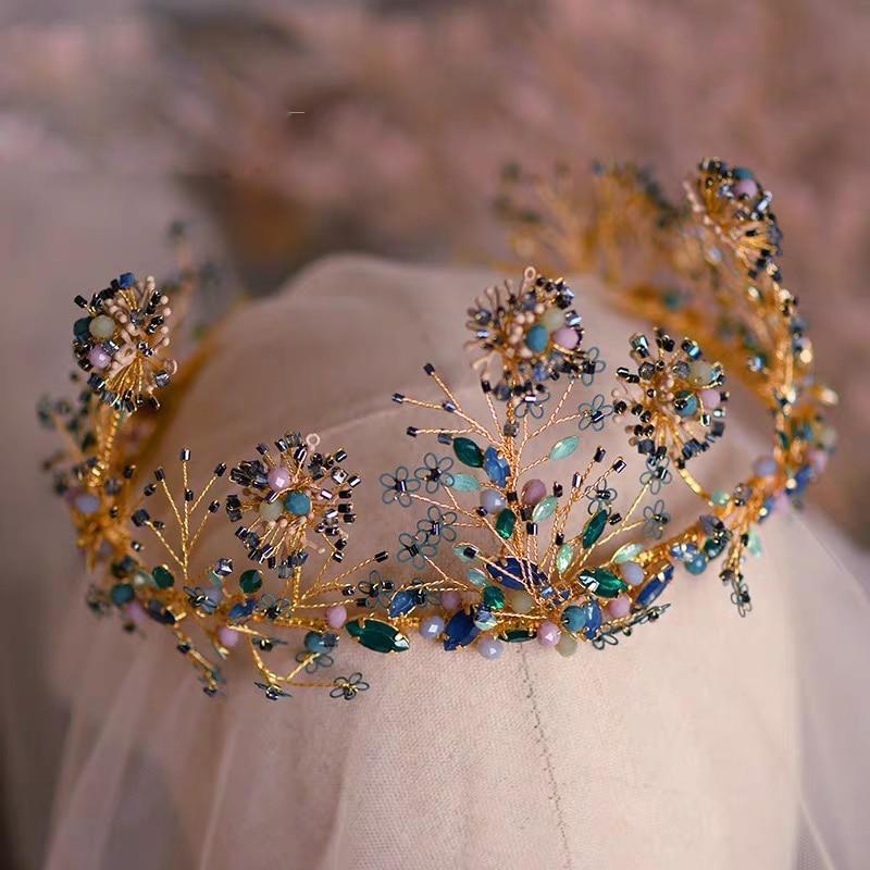 Bavoen Sparkling Handmade Rhinestone Bridal Tiaras Crowns Crystal Brides Headband Wedding Hair Accessory Evening Hair Jewelry