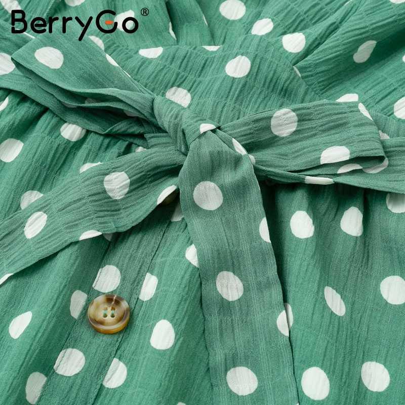 Berrygo сексуальное платье с v-образным вырезом в горошек зеленое летнее платье без рукавов женское платье Короткое Sash button пляжное платье женское vestido 2019