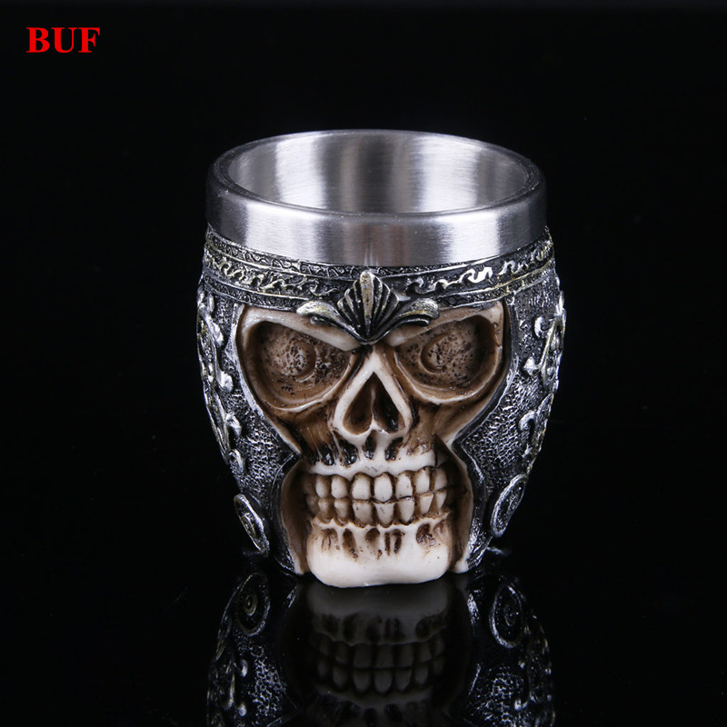 BUF Resin Craft Statues For Decoration Party Skull Cup Creative Skull Beer Cup Figurines Sculpture Home Decoration Accessories in Statues Sculptures from Home Garden