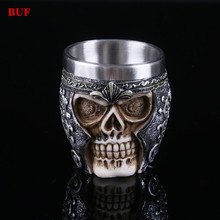 BUF Resin Craft Statues For Decoration Party Skull Cup Creative Skull Beer Cup Figurines Sculpture Home Decoration Accessories