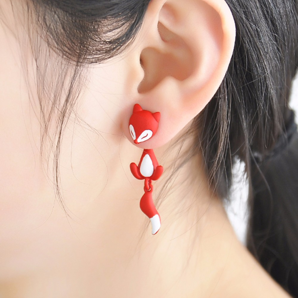 1 PCS Cute Fox Stud Earrings 3 <font><b>colors</b></font> <font><b>Animal</b></font> Ear Jewelry Earrings For Women Fashion Statement Jewelry Free shipping