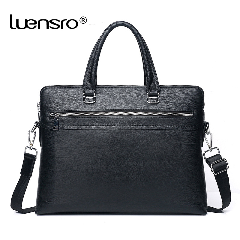 Double Zipper Large Briefcases Genuine Leather Male Shoulder Bag Messenger Bag Causal Handbag 14 inch Laptop