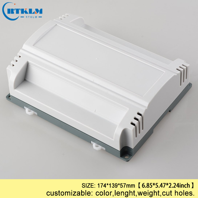 Din rail electric box abs plastic electronics junction box custom box DIY plastic enclosure plastic instrument case 174*139*57mm 1 piece free shipping abs plastic enclosure electronics pcb box 119 56 32mm plastic instrument case