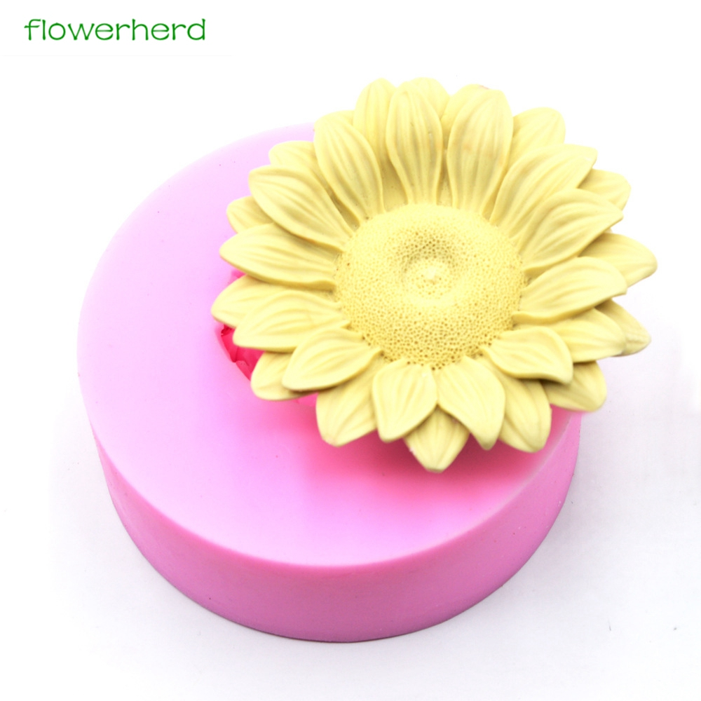 Big Size Silicone Soap Mold Sunflower Flower 3D Soap Mold Handmade Fragrance Soap Fondant Cake Decorating Tools Silicone Mold