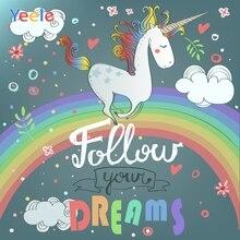 Yeele Unicorn Birthday Rainbow painting Customized Photography Backdrop Personalized Photographic Backgrounds For Photo Studio