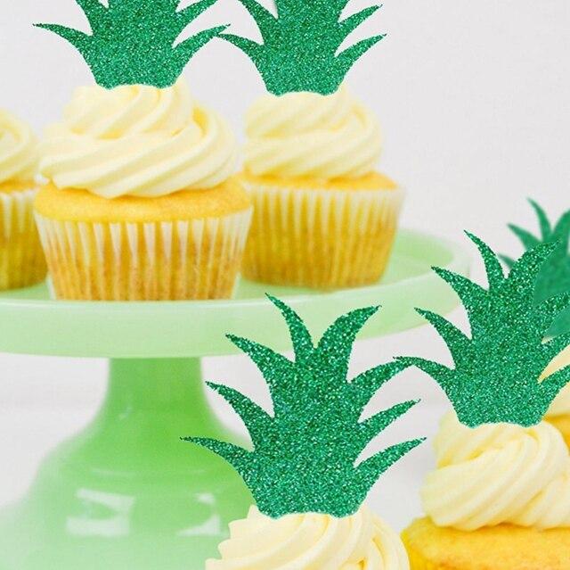 Suministros de fiesta Tropical 10 piezas hojas de piña brillo pastel Toppers Cactus Cupcake recoger Navidad Halloween Hawaiano fiesta Decoración