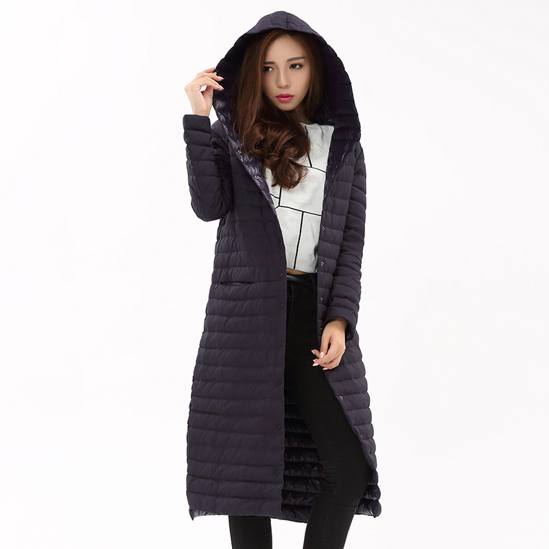 2018 Autumn Winter Women White Duck Downs Jacket Long Down Coat Parkas Ladies Ultra Light Coats Hooded Outerwear Clothing AB882