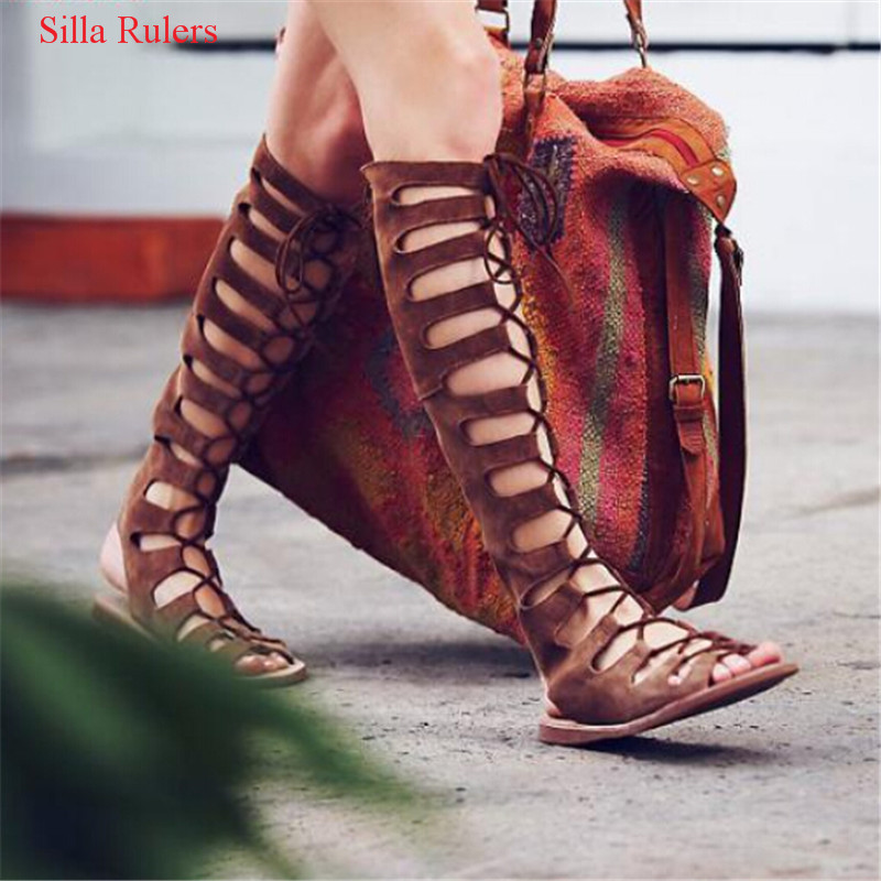 New Summer Sandals Boots Flat Shoes Woman Boho Cut Outs Cross Tied Women Boots Lace Up Knee High Boots Roman Sandals Botas Mujer