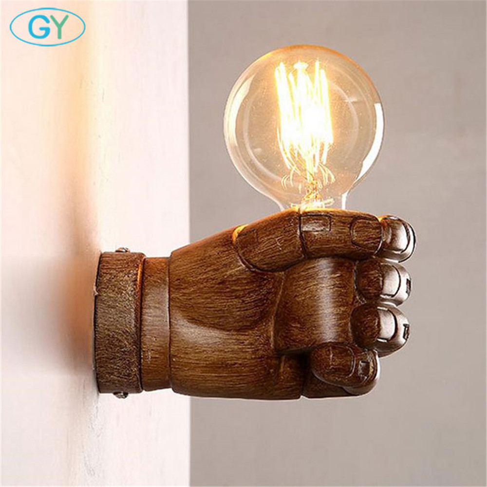 Retro industry Wall Restaurant Bar Cafe fist resin wall lamp bedroom bedside wall sconces lighting vintage rustic white arandela modern lamp trophy wall lamp wall lamp bed lighting bedside wall lamp