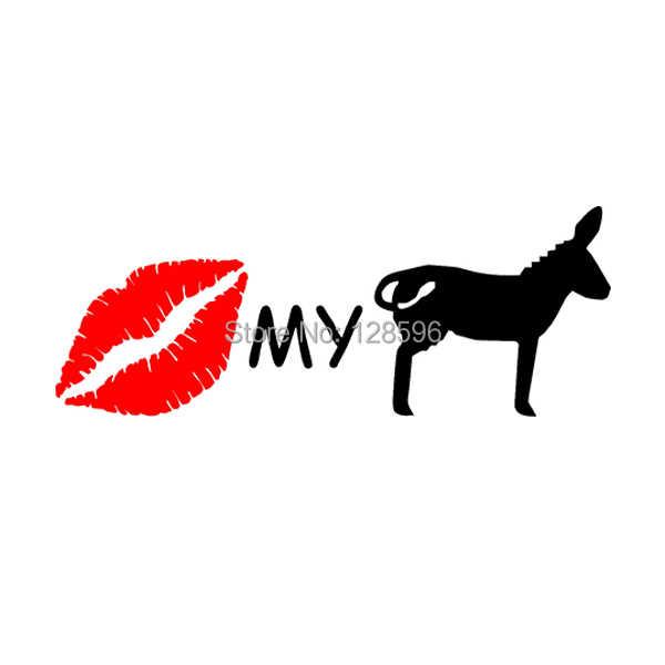 KISS MY ASS наклейка забавная для автомобиля виниловая переводная Наклейка на окно Ослик губы дорога яж мул шутка грузовик