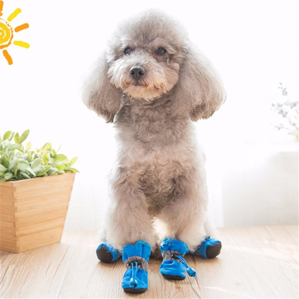 4pcs/set 7 Sizes Nylon Cotton Pet Dog Shoes Waterproof Non slip ...