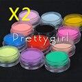 Nuevo 24 unids/lote de color Polvo de Acrílico para el Arte Del Clavo Consejos Glitter UV Kit Polaco Decora Set