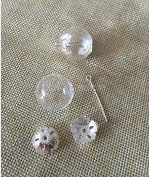 Wholesale 25mm Glass Globe Vial with Two Hole on Each Side&Flower Beads Cap &Eye Pin DIY Glass Vial Pendant Jewelry Pendant New