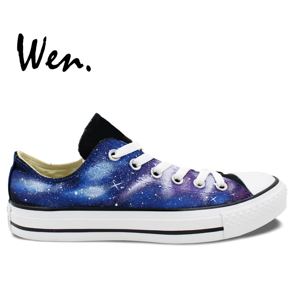 Wen Original håndmalede sko Design Custom Blue Starlight Galaxy Nebula Black Low Top Man Woman's Canvas Sneakers