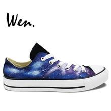 Wen Original Hand Painted Shoes Design Custom Blue Starlight Galaxy Nebula Black Low Top Man Woman's Canvas Sneakers