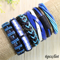 Blue wholesale wristband (6pcs/lot)  handmade Multilayer Weave Wrap Hemp&Genuine leather bracelet with charms for  men women-S62