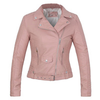 ROKEDISS New Autumn Winter Pu Jacket Faux Soft Coat Slim Pink Zipper Motorcycle Jackets Womens Biker