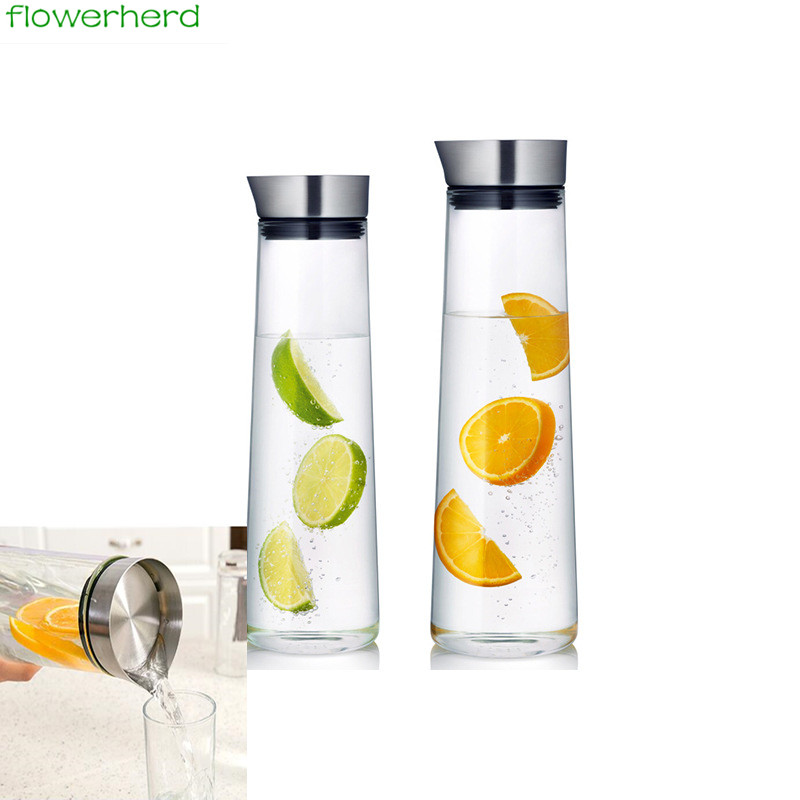1000/1500ml Sport Style Glass Water Bottle Portable Bicycle Tour Solid Transparent Office Bottle