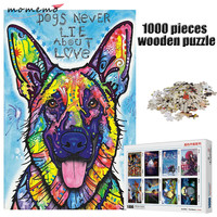 MOMEMO Color Dog 1000 Pieces Puzzle Adults Entertainment Assembling Toys 1000 Pieces Wooden Jigsaw Puzzle Game Kids Toys Gifts