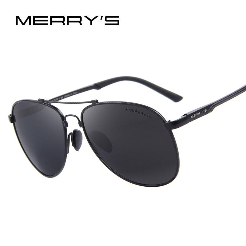 ccf0aebc3 MERRYS الرجال الكلاسيكية العلامة التجارية الطيران النظارات الشمسية HD  الاستقطاب الألومنيوم القيادة TR90 التيتانيوم جسر نظارات شمسية S8716