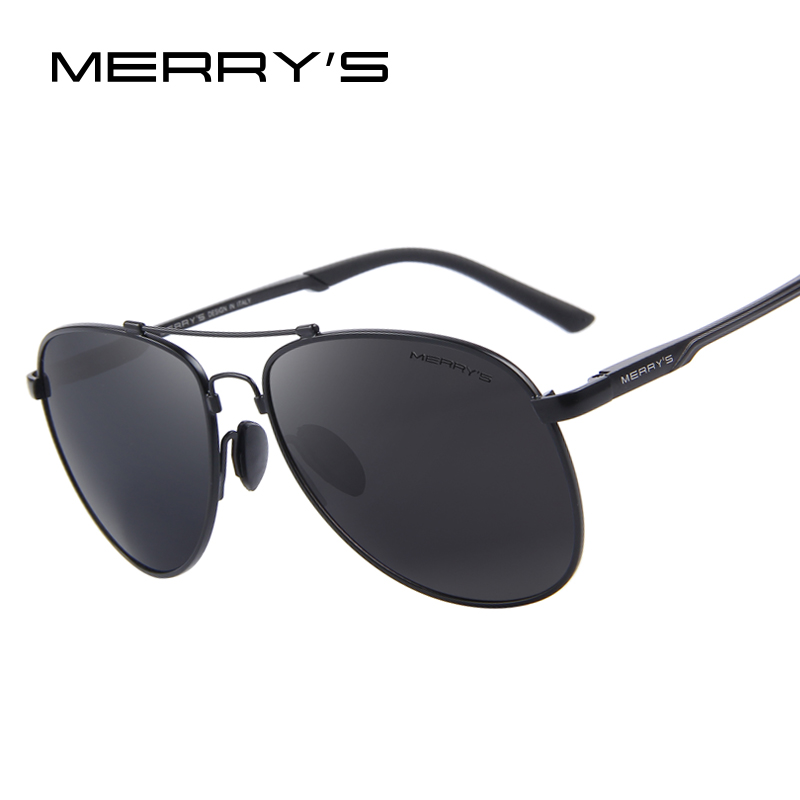 MERRYS vīriešu klasiskā zīmola aviācijas saulesbrilles HD polarizēta alumīnija vadīšana TR90 titāna tilts saulesbrilles S8716