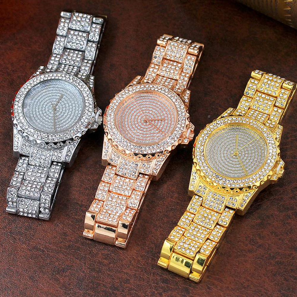 Men Hip Hop Iced out Gold Tone Techno Pave Bling Simulated Zircon Rapper WatchMen Hip Hop Iced out Gold Tone Techno Pave Bling Simulated Zircon Rapper Watch