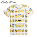 New Kids TShirt Printing Clothes European Fashion Cartoon Facial Expression Printed Sports Shirts Big Boys Girls Tops tyh-20485