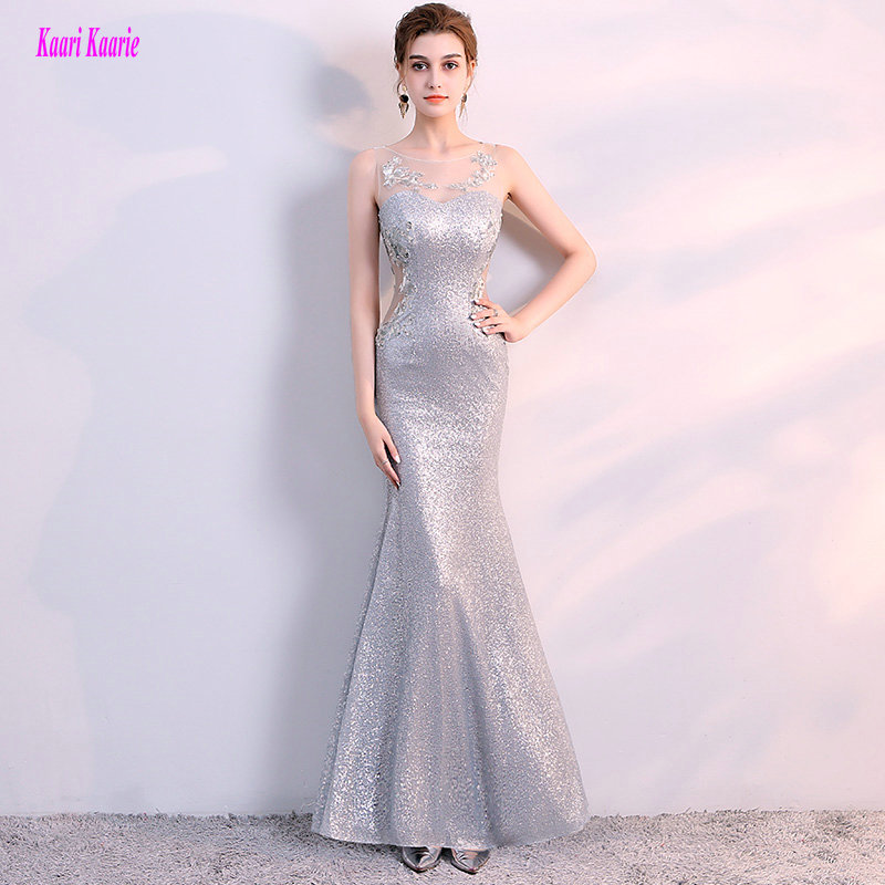Brilliant Silver Mermaid Evening Dress Long 2018 Sexy Plus Size Formal Evening Dresses Scoop Sequin Appliques Evening Party Gown