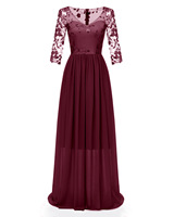 Fashion Women's Dresses High grade double layer lace embroidered V neck chiffon slim short long bridesmaid dinner ladies dress