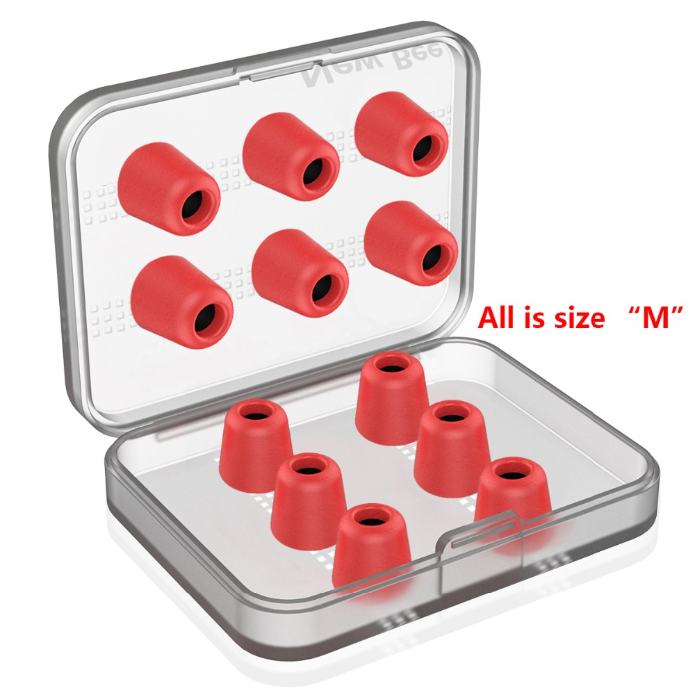 New Bee 6 Pairs Replacement Earphone Tips Noise Isolation Red Memory Foam Headset Pads  Earpiece Earbuds for In Ear Earphone