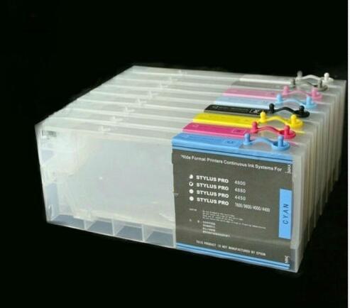 Paquet de 8 cartouches dencre rechargeables pour imprimante e-pson stylet Pro 4880 4800 cissPaquet de 8 cartouches dencre rechargeables pour imprimante e-pson stylet Pro 4880 4800 ciss