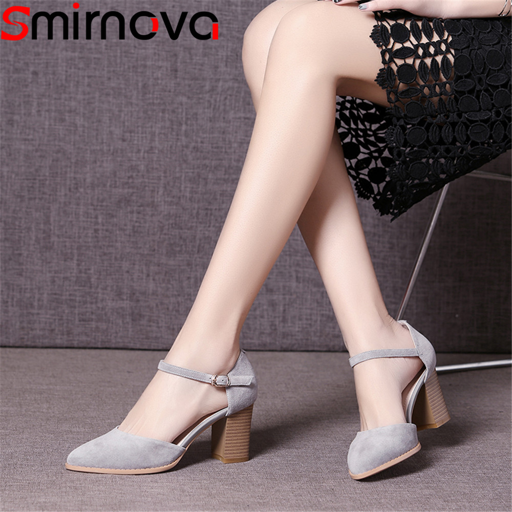 Smirnova fashion pointed toe spring summer shoes woman pointed toe pumps women shoes thick heel suede leather high heels shoes 2018 spring pointed toe thick heel pumps shoes for women brand designer slip on fashion sexy woman shoes high heels nysiani