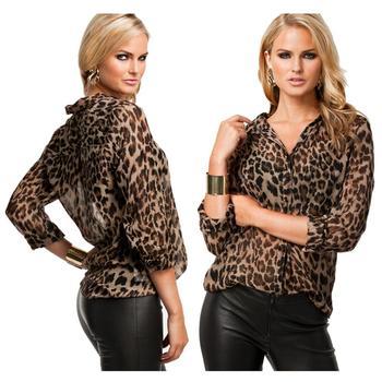 Women Print Chiffon Blouse Lady Sexy Long Sleeve Tops Shirt Loose V neck Leopard Blouse blusa sexi animal print