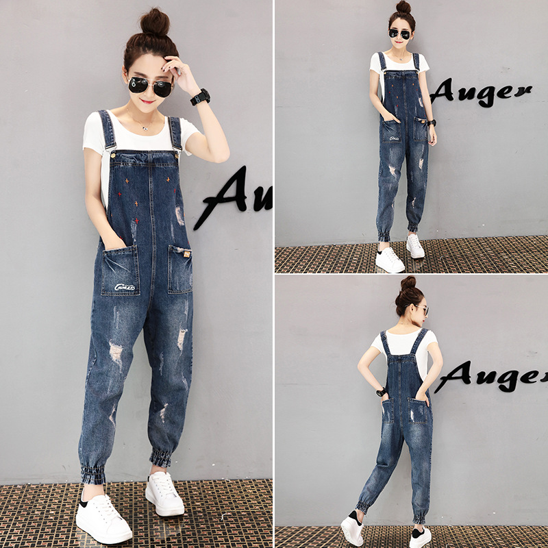 Fashion Woman Playsuits 2019 Spring Autumn New Jeans Jumpsuit Ripped Full Length Denim Overalls Casual Pencil Bodysuits NO855