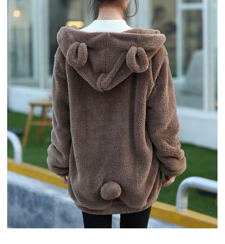 Hot Sprzedaż Kobiety Swetry Zipper Dziewczyna Zima Luźne Puszyste Niedźwiedź Ucha Bluza Z Kapturem Kurtka Warm Odzież Wierzchnia Płaszcz słodkie bluza H1301 8