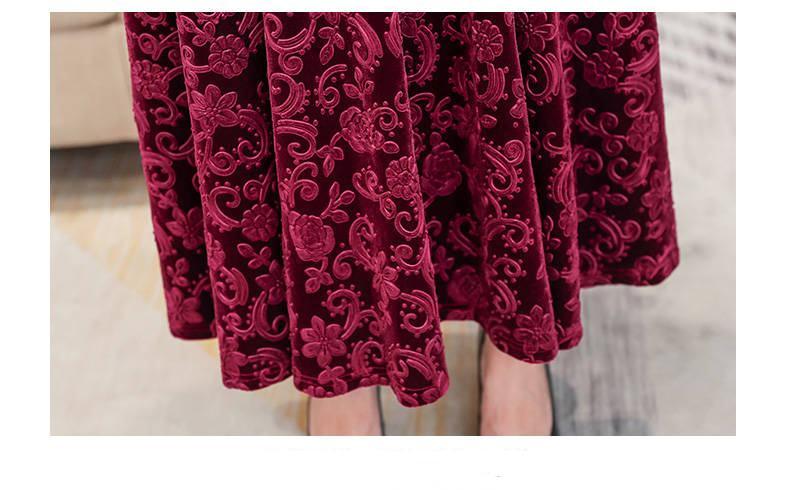 19 Women Autumn Winter High Quality Casual Vintage Velvet Bodycon Long Dresses Femme Elegant V-Neck Slim Party Robe Dress W40 8