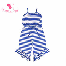 Kaiya Angel 2018 Newborn Baby Girl Summer Clothes Royal Blue Strip Cotton Toddler Rompers Factory Wholesale 4th Of July
