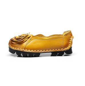 Image 3 - Nouveau Vintage à la main Style populaire femmes chaussures plates chaussures décontractées en cuir véritable dame chaussures à fond souple pour la mère mocassins de mode