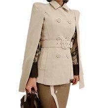 HAMALIEL, осенняя Женская шаль, плащ, двубортный пиджак, пальто, модный, с отложным воротником, тонкий плащ, пончо, пальто с поясом