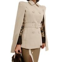 HAMALIEL Autumn Women Shawl Cloak Double Breasted Jacket Coat Fashion Turnd Down Collar Slim Cape Poncho Overcoat With Belt